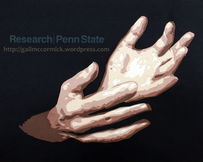 Paper cut hands created for the Penn State Research Magazine. Based on a photo by Patrick Mansell.