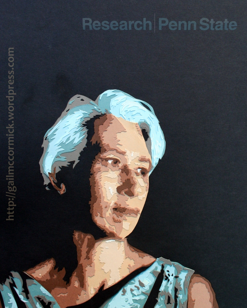 Paper cut portrait of Nina Jablonski, created for the Research at Penn State Magazine.